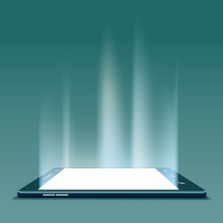 tablet: Black smartphone with white screen