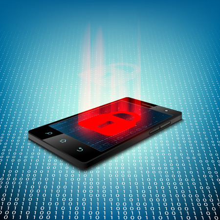 mobile security: Black smartphone on a background of binary code