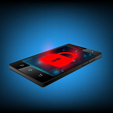 privacidad: Bloqueo rojo en la pantalla del teléfono inteligente