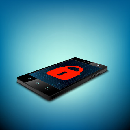 digital data: Red lock on the smartphone screen