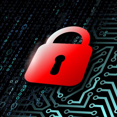 password security: Red door lock Illustration