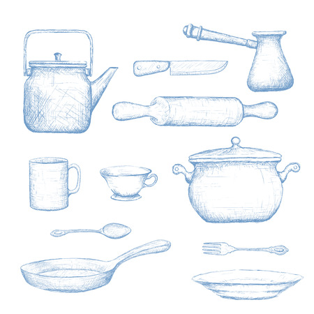 pots: Kitchenware. Isolated on white background. Doodle image. Vector Image Stock.