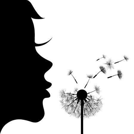 dandelion wind: Silhouette of the girl and dandelion
