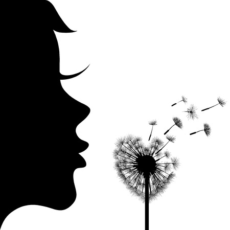 blowing: Silhouette of the girl and dandelion