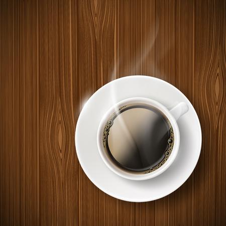 taza cafe: Taza de caf? en una mesa de madera