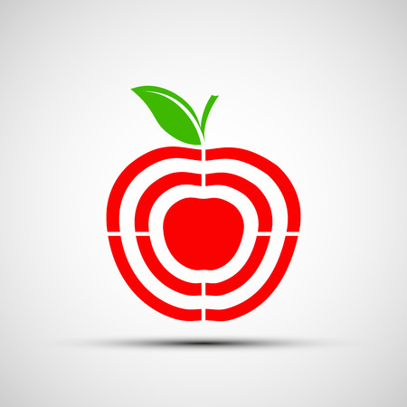 acute angle: Red Apple as a target. Vector Image Stock. Illustration