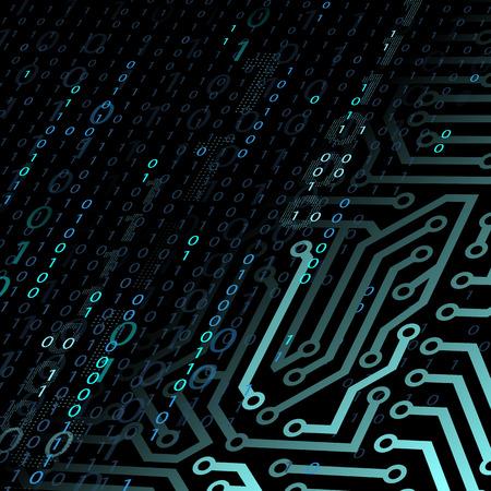 Zusammenfassung Technologie Hintergrund. Chip und Binär-Code. Vektorgrafik.