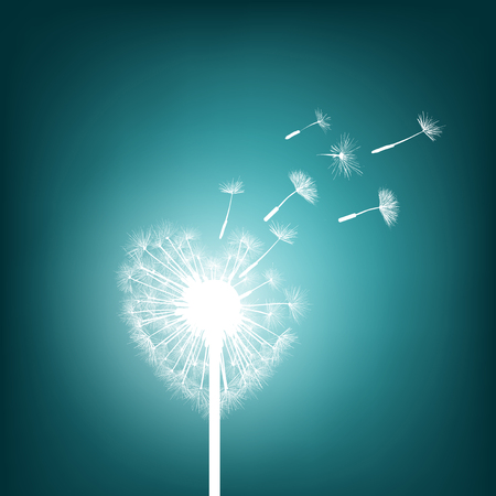 hopes: Abstract natural background. Glowing dandelion in the form of heart. Stock Vector.