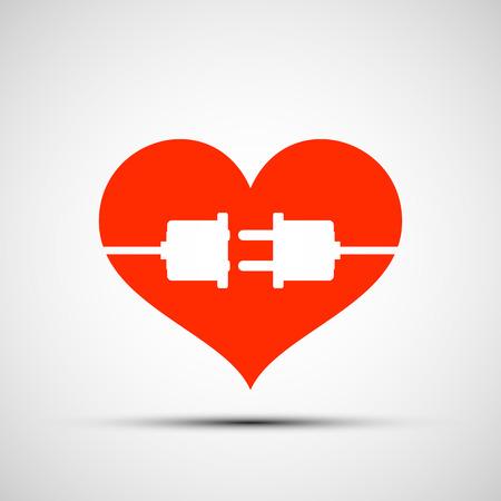 enchufe: Logotipo del corazón rojo. Enchufe en el corazón. Imagen vectorial Stock.