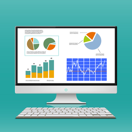 computer vector: Financial charts and graphs on the computer monitor. Workplace broker. Stock Vector.
