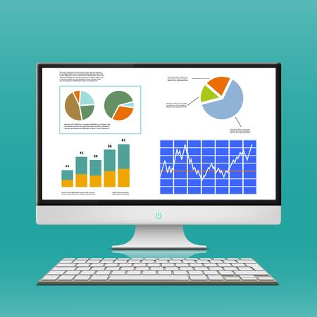 monitor de computadora: Tablas y gráficos financieros en el monitor de la computadora. Corredor del lugar de trabajo. Stock Vector.