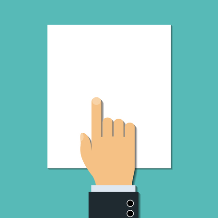 tax form: Man points a finger at blank document. Stock Vector.