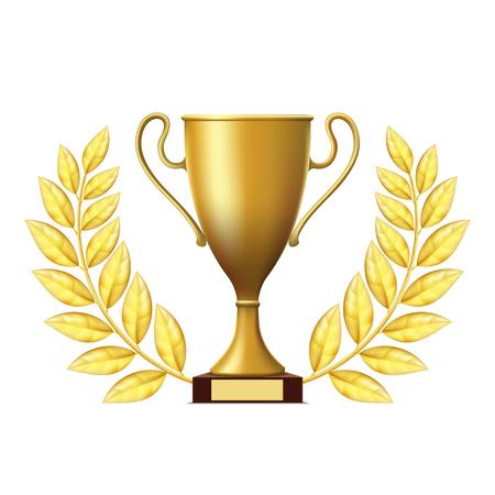 award trophy: Golden cup winner with wreath. Stock Vector.
