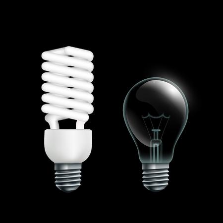 bombillo ahorrador: Lámparas eléctricas aisladas sobre fondo negro. Stock Vector.