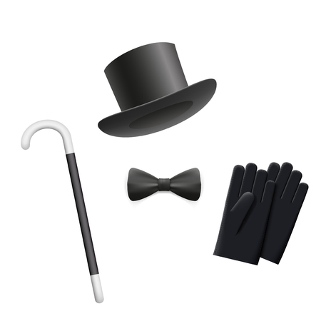 walking stick: Cylinder hat, tie, gloves and walking stick isolated on white background. Vector Image Stock. Illustration
