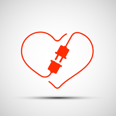 network connection plug: Red heart logo. Plug within the heart. Vector Image Stock.