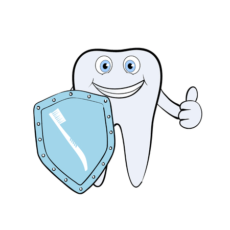 dental calculus: Human tooth with a metal shield. Isolated on white background. Stock Vector.