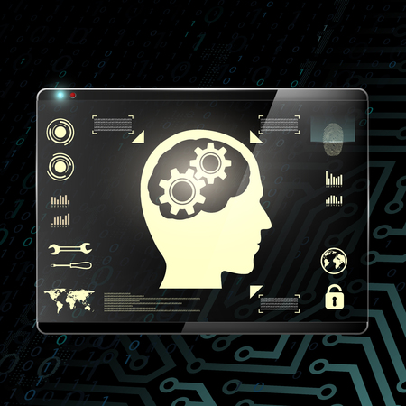 linguistic: Touch screen with a human head and gears. Transparent display on a digital background. Stock Vector.
