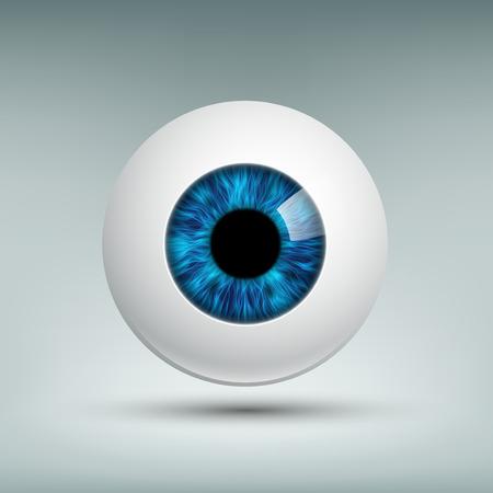 globo ocular: globo del ojo humano. iris azul. Imagen del vector. Vectores
