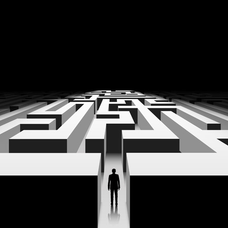 overcoming adversity: Dark labyrinth. Silhouette of man. Stock vector image. Illustration