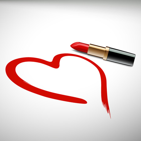 Heart drawn with lipstick. Stock vector image. Vector Illustration