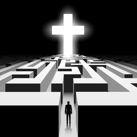 worship: Dark labyrinth. Silhouette of man. White Cross. Stock vector image. Illustration
