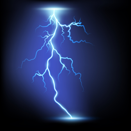storm rain: Lightning. Isolated on a black background. Stock Vector.