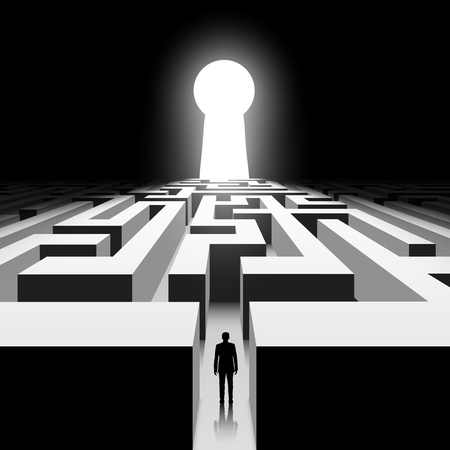 Dark labyrinth. Silhouette of man. Stock vector image. Illustration