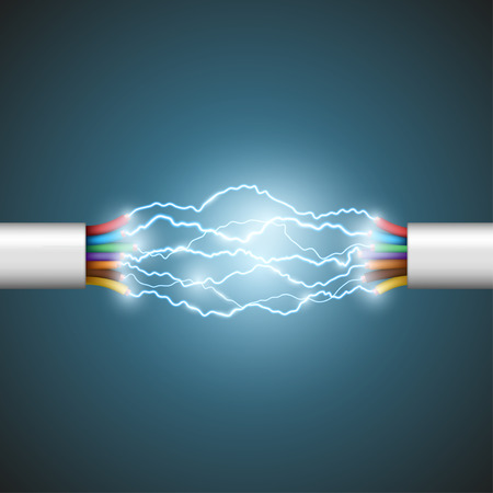 fiber optic cable: Electric arc between the wires. Electrical circuit. Stock Vector.