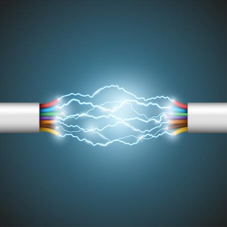 Lichtbogen zwischen den Drähten. Elektrische Schaltung. Vektorgrafik.