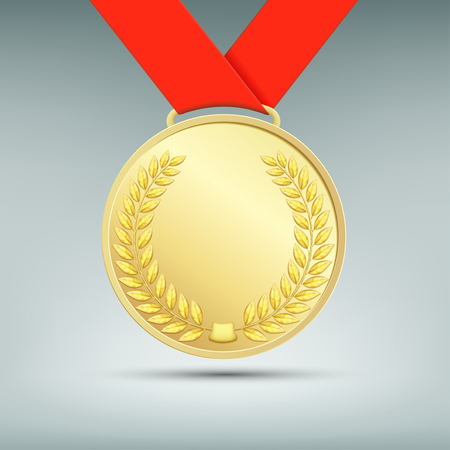 medal: Gold medal with red ribbon. Stock vector image.