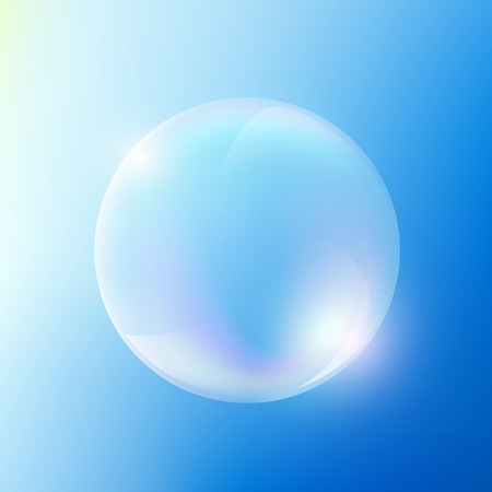 sunbeams background: Soap bubble on the blue sky background. Stock Vector. Illustration