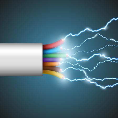Fil avec décharge électrique. Image Stock de vecteur.