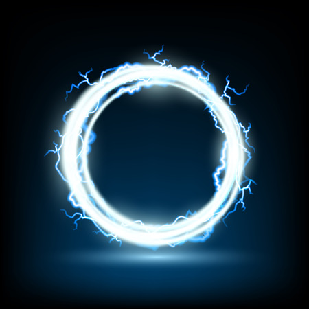electric energy: Abstract round frame with electric shocks. Stock vector image.