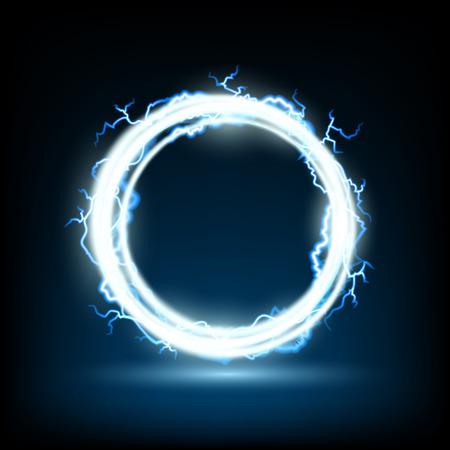 electricidad: Marco redondo abstracto con descargas eléctricas. Imagen vectorial.