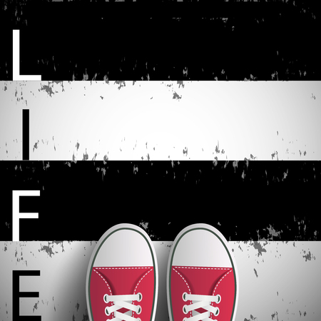 Man standing on black and white lines with the word life. Stock vector image.