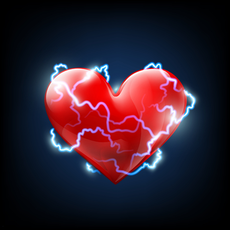 myocardial: Electrical discharges around the human heart. Stock vector image.