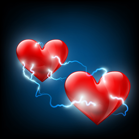 Electric discharges between two hearts. Stock vector image.