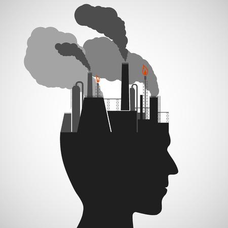 silueta humana: Silueta de una cabeza humana. Planta con las tuberías y el humo. Imagen del vector.