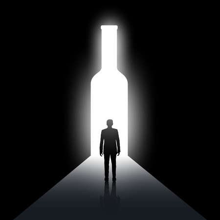 Silhouette of man and the bottle. Alcoholism and drunkenness. Stock vector image. Stock Illustratie