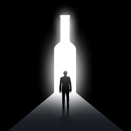 Silueta člověka a láhve. Alkoholismus a opilost. Sklad vektorový obrázek. Ilustrace