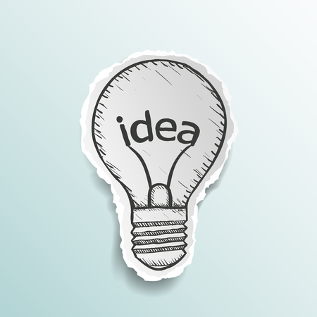 Light bulb with the word idea. Doodle image. Stock Vector illustration. Vectores
