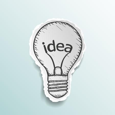 bombillas: bombilla con la idea de la palabra. la imagen del doodle. Vector ilustración stock.