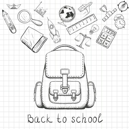 zaino scuola: Back to school. School backpack and school supplies. Doodle image on a sheet of notebook. Stock Vector illustration. Vettoriali