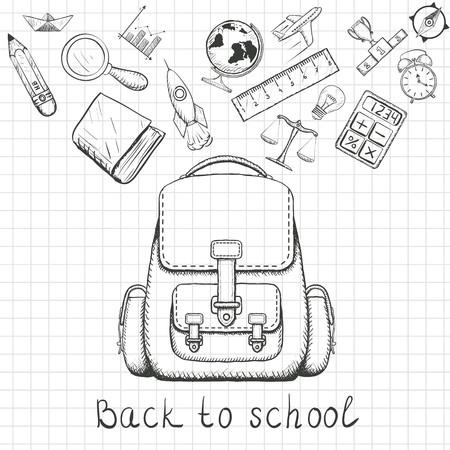 Back to school. School backpack and school supplies. Doodle image on a sheet of notebook. Stock Vector illustration. Ilustração
