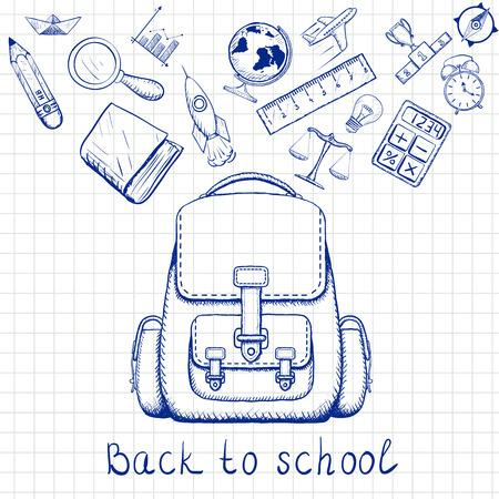 De Vuelta A La Escuela. Mochila Escolar Y útiles Escolares. Doodle ...
