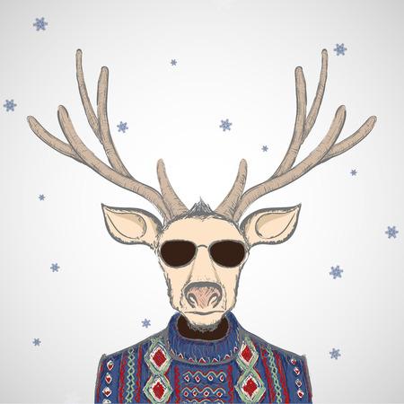 cuernos: Ciervo en el jersey de punto. la imagen del doodle. Vector ilustración stock.