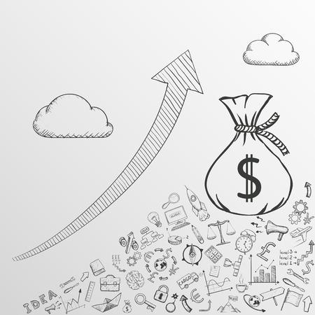 planificacion: Flecha arriba. Aumentar las ganancias. Imagen del Doodle. Ilustración vectoriales.