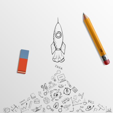 로켓이 걸립니다. 낙서 이미지입니다. 연필과 지우개. 주식 벡터 일러스트 레이 션입니다.