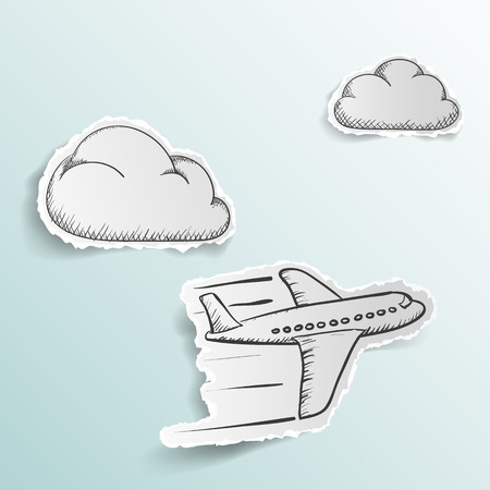 airplane wing: Airplane is flying in the clouds. Doodle image. Scrapbooking. Stock Vector illustration.